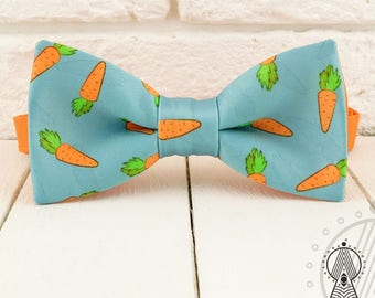 Carrots Bow Tie, Orange and turquoise bowtie, Vegetables, Men's bow tie, Women's bow tie, Children's bow tie