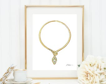 Snake Necklace Watercolor Rendering in Gold with Diamonds, Opals, Emeralds & Sapphires printed on Paper