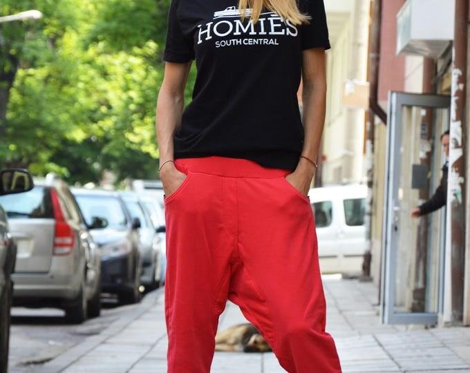 Extravagant Cotton Pants, Warm Sport Pants, Loose Harem Pants, Casual Drop Crotch Pants, Side Zipper Pocket by SSDfashion