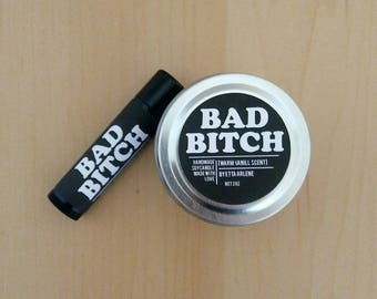 Bad Bitch Gift Set -  Vegan Lip Balm - Soy Candles - Lip Balm and Candle - Holiday  Gift Ideas by Etta Arlene