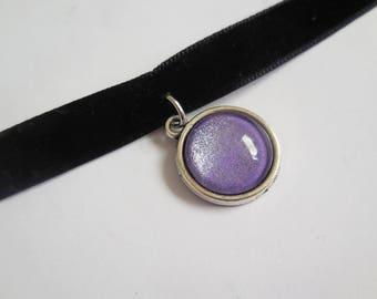 Black velvet purple lila pendant choker handmade