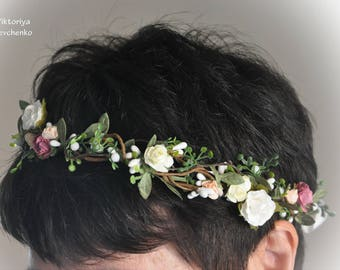 Wedding flower crown Bridal Flower Crown Woodland Crown Boho wedding hairpiece Floral Halo Wedding floral crown Flower hair wreath LV12