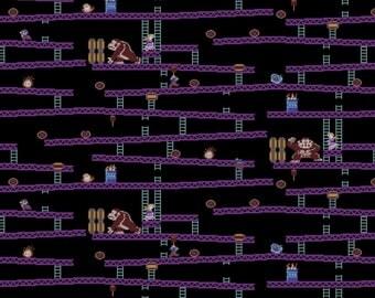 Donkey Kong Jumpman's Ascent Cotton Woven, DK Fabric, Donkey Kong, Nintendo Fabric, Nintendo Donkey Kong, Cotton Fabric, Cotton Material