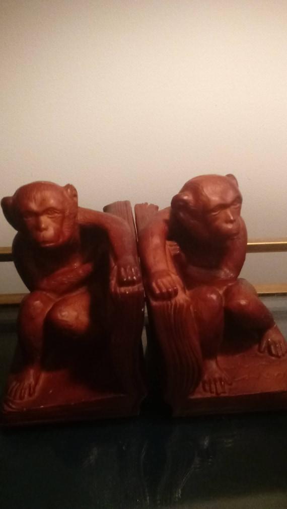 Andrea by Sadek Dark Brown Heavy Resin Monkey Bookends
