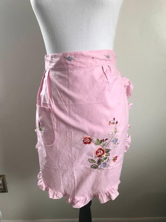 Pink Vintage Embroidered Floral Apron