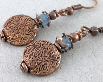 Light Blue Jade Gemstones Copper Earrings Geometric Earrings Dangle Round Earrings Boho Bohemian Earrings Jewelry Dangle Copper Earrings