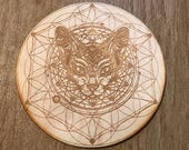 Cat Flower of Life Crystal Grid - 6, 9 or 12 Inches - Wooden Crystal Grid - Animal Spirit - Totem - Cat Crystal Grid