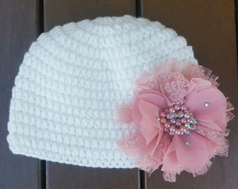 Newborn beanie.Baby girl beanie.Beige cotton crochet baby girl beanie