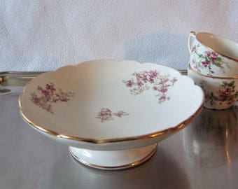 Cake stand biscuit platter, compote fruit dish white and pink flower – Vintage Wedding French vintage French décor – assiette à gateaux
