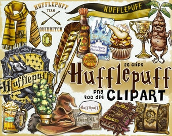 Hufflepuff clipart, Harry Potter clipart, Harry potter party, props, printable, planner stickers, clip art, printable journal, scrapbook