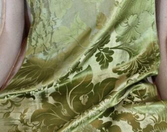 18th Century French Lyon Silk Damask Flowers Green