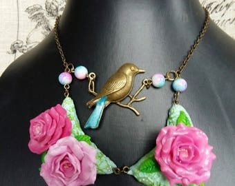 chickadee bronze necklace with roses