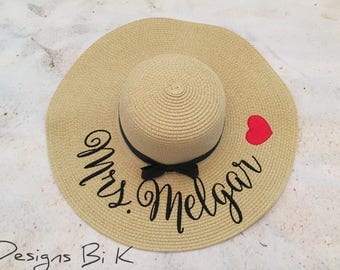 Straw hat, Personalized straw hat for Mrs, Custom embroidered floppy beach hat, Destination wedding, Something blue fro bride, Gifts for her