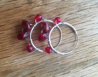 Earring - 20mm Sterling Silver hoop with ruby red czech glass beads boho earrings boho chic mini hoop earrings gift for teacher