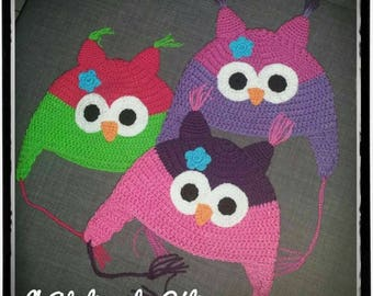 Super cute or OWL crochet - baby or child - mixed girl or boy - baby gift or birthday