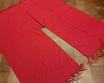LORD & TAYLOR Wine Red Christmas Tree Skirt Vintage Romantic Soft Fringe Christmas Tree Square