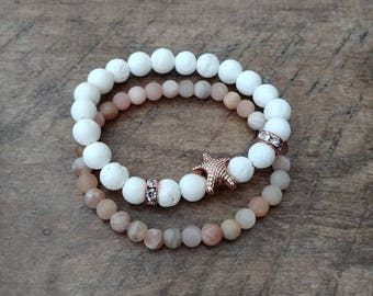 Beach Vibes and Sunshine 8mm White coral with rose gold coloured starfish bead and spacers, 6mm matte sunstone