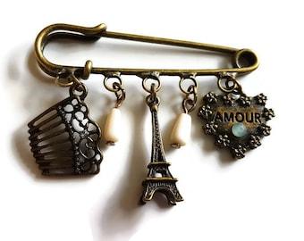 Handmade Brooch Kilt pin brooch with charms