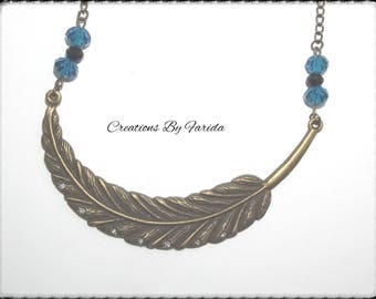 Feather necklace bronze color with silver rhinestones and pearls