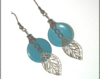 Bronze color with sequin blue duck, chain and leaf earrings