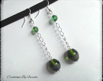 Freshwater Pearl drop earrings, green and gray on chain