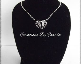 Pretty Choker necklace with 925 sterling silver chain and silver plated origami elephant pendant