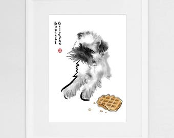 Brussel Griffon Card, International Doggy Sumi-e Painting Illustration Print Asian Belgium Zen Art Waffle Ink Drawing Dog Lover