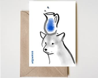 Aquarius Shiba Card, Horoscope Dog Sumi-e Ink Painting Zen B&W Illustration February Birthday Cute Zodiac Drawing