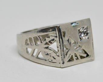 Large silver tone men's ring