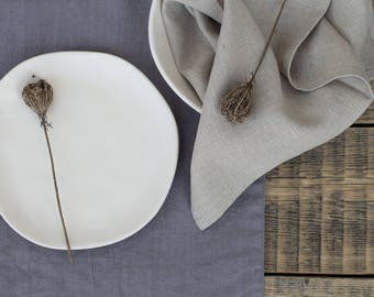 Gray natural linen placemants double layered table mats