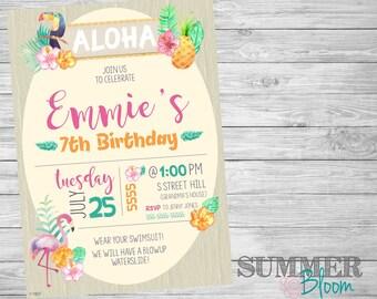 Aloha Hawaiian Tropical Floral Watercolor Birthday Invitation