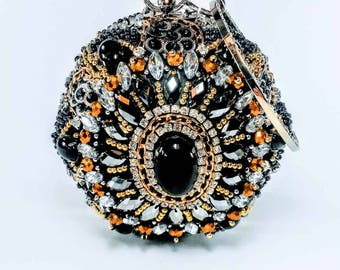 Black Beaded Sphere Statement Clutch