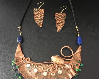 Copper bib necklace, mermaid necklace, jungle chic necklace, shell jewelry