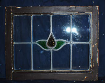 Authentic Salvaged European leaded stained glass window sash in original wood frame, 21 x 17 inches, 2 colors, clear and bubble glass