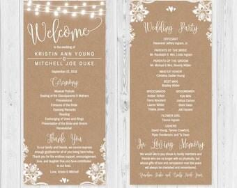 lace wedding program etsy