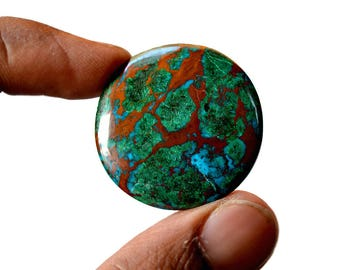 Chrysocolla 47 Cts AAA Quality Natural Gemstone Attractive Designer Round Shape Cabochon 32x32x5 MM R14079