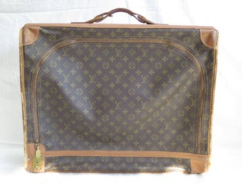 "Vintage Louis Vuitton Leather Tan Trim Monogrammed 23 x 19 x 7"" Luggage Suitcase."