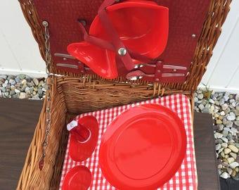 Vintage Brexton red plaid wicker picnic basket