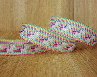 """7/8"""" Rainbow Unicorn Cartoon Printed Grosgrain Ribbon Bows HairBows Craft Supplies"""