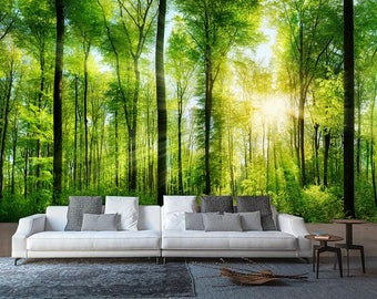 Rays Of Light In The Forest Wall Mural, Nature Mural, Summer In The Forest Part 92