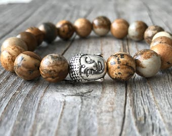Kids gemstone bracelet, Buddha bracelet, Kids stretch stacking bracelet, Kids gift, beaded boy bracelet, Boy gemstone jewelery gift