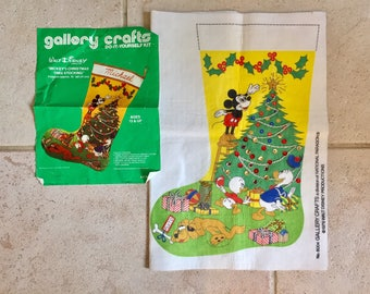 Unfinished Walt Disney Felt Stocking Kit / Vintage Christmas Decoration / Mickeys Christmas Tree Stocking / Gallery Crafts / 1978
