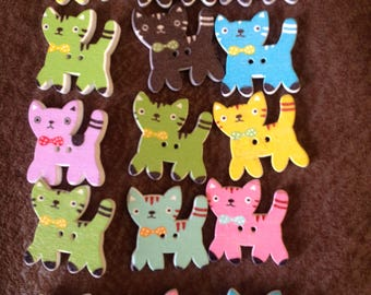 Wooden cat buttons set of 15