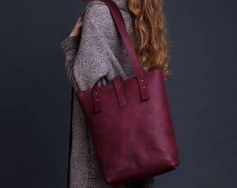 Burgundy Leather Tote Bag / Women Handbag / Leather Shopper Bag / Leather Handbag / Leather Fashion Bag / Leather Ladies Shoulder Bag