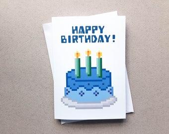 Gamer Cake Birthday Card, Pixel Cake, Gaming Card, Birthday Card, Gamer Card, Pixel Heart, Greeting Card, Geeky, Nerd Birthday Card, Retro