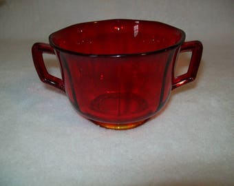 Amberina Glass Sugar Bowl