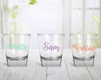 Personalized Shot Glass, Name Shot Glass, Brides Maid Gifts, Bridesmaid Shot Glass, Wedding Party Shot Glass, Bachelorette Party Glass