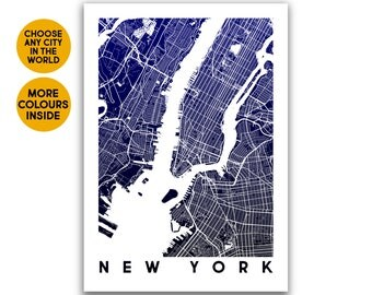 New York map print Travel 1st Anniversary gift for Women gift for Boyfriend gift for Girlfriend gift for Men Gift for Husband gift for her