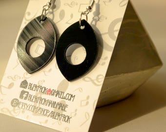 Black dangle vinyl record earrings,earrings for woman,circle,eye,upcycled earrings minimalist earrings sustainable fashion edgy jewelry