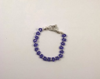 Beaded Child's Purple Daisy Chain Bracelet, Baby Flower Chain Jewelry, Kid's Purple Boho Bracelet, Tiny Beads